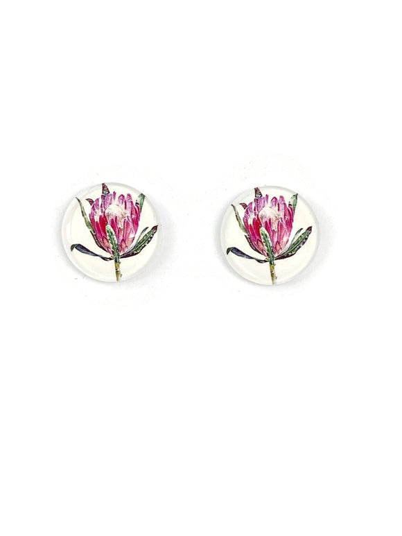 Pink Protea Stud Earrings