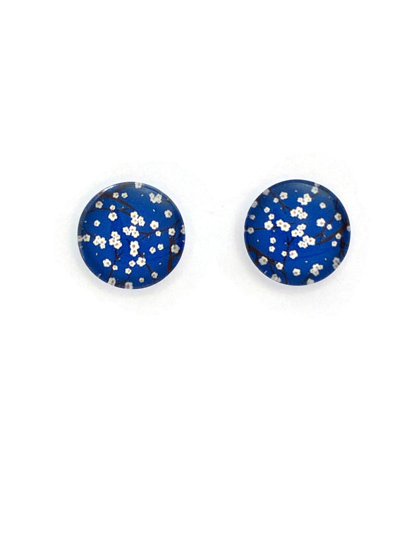 Blue and White Blossoms Stud Earrings