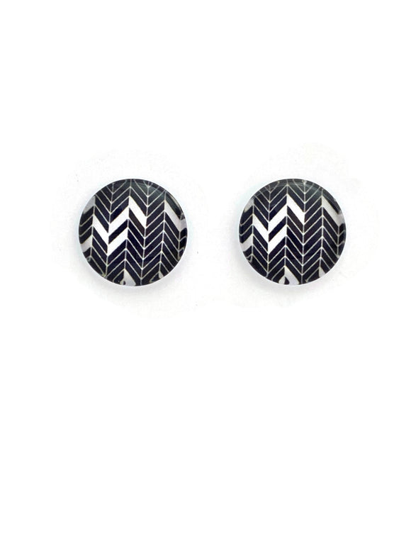 Black Alternate Chevron Stud Earrings
