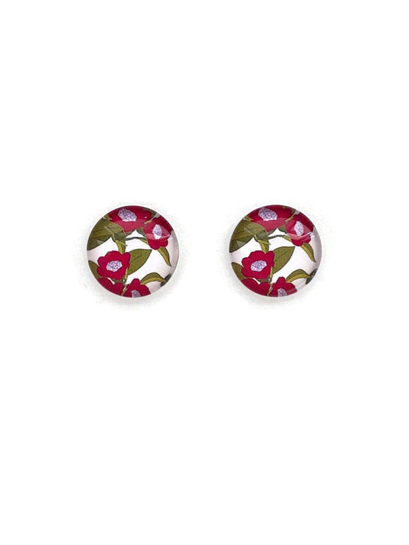 Red Flowers Stud Earrings