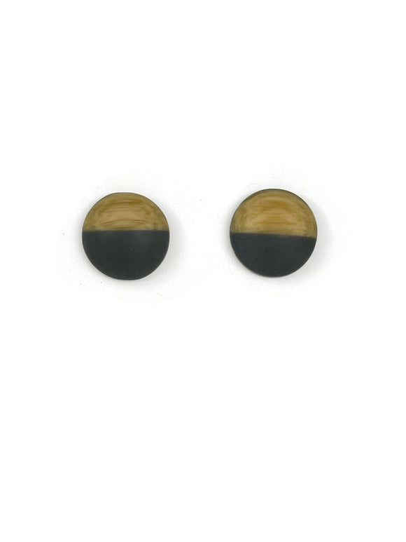 Copy of Frosted Imitation Wood and Grey Resin Stud Earrings