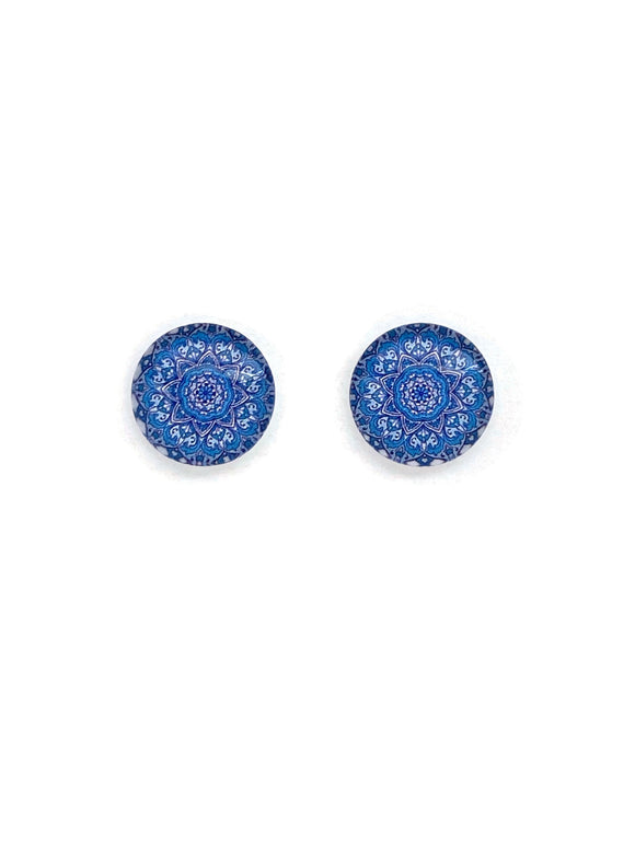Blue Mandala Stud Earrings