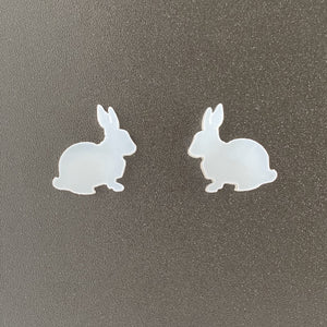 Frosted White Perspex Bunny Stud Earrings