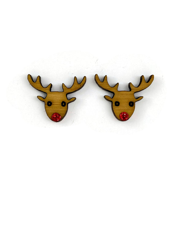 Bamboo Reindeer Stud Earrings
