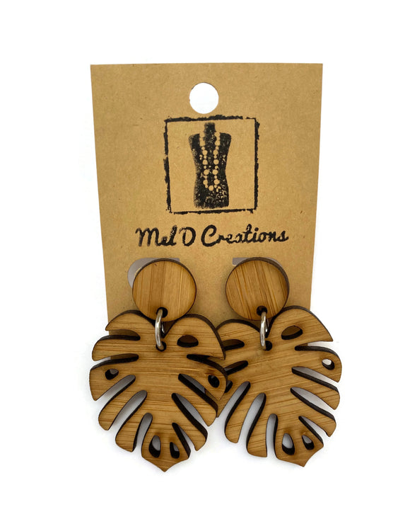 Bamboo Monstera Dangle Earrings