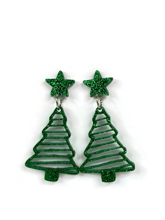 Green Glitter Christmas Tree Dangle Earrings
