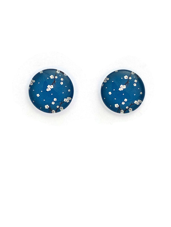 Turquoise and White Blossoms Stud Earrings