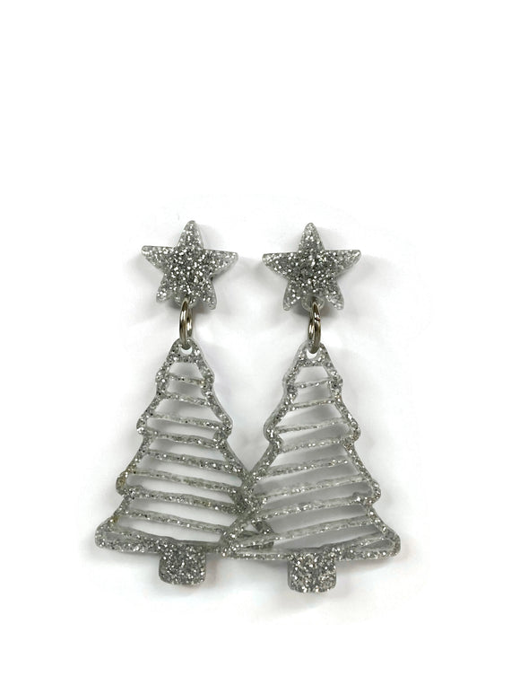 Silver Glitter Christmas Tree Dangle Earrings