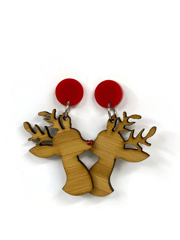 Bamboo Reindeer with Red Perspex Dangle Earrings