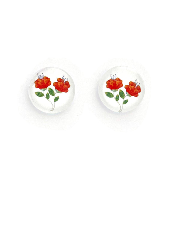 Orange Florals Stud Earrings