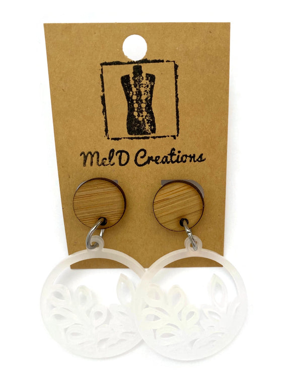 Perspex Circled Leaves Dangle Earrings