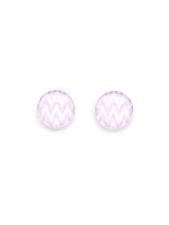 Pink Chevron Stud Earrings