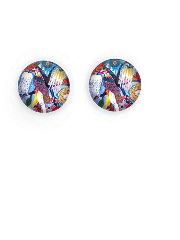 Multi Colours Bird Stud Earrings