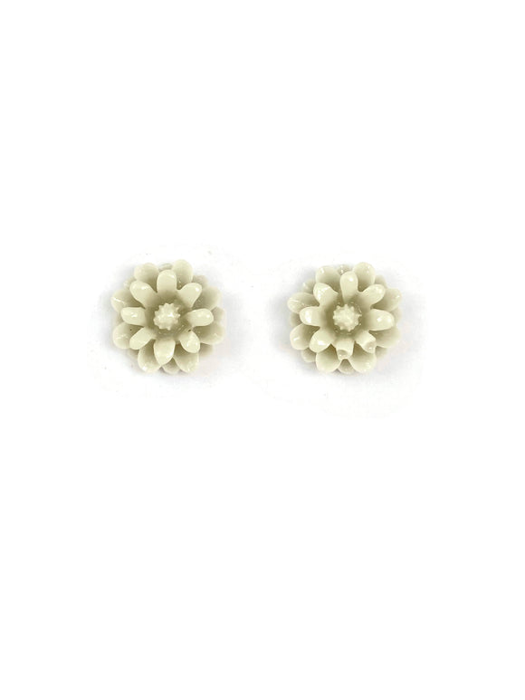 Light Grey Resin Flower Stud Earrings