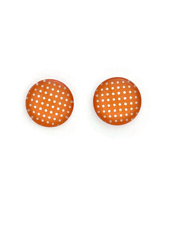 Orange & White Polka Dots Stud Earrings