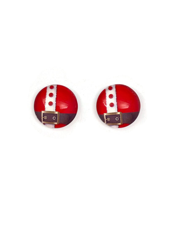 Santa's Belt Stud Earrings