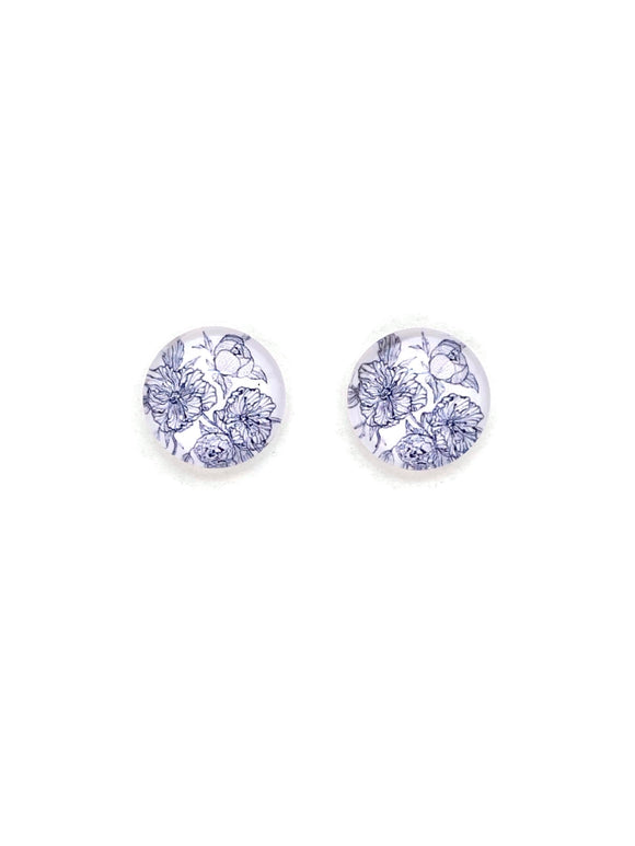 Monochrome Floral Stud Earrings