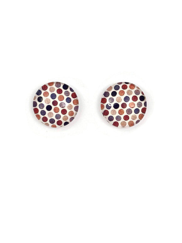 Natural Polka Dots Stud Earrings