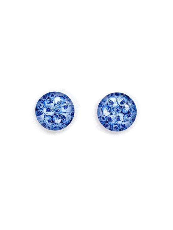 Blue Roses Stud Earrings