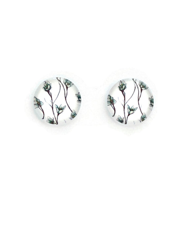 White with Branched Blossom Stud Earrings