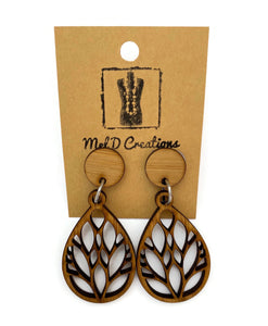 Bamboo Branched Teardrop Dangle Earrings