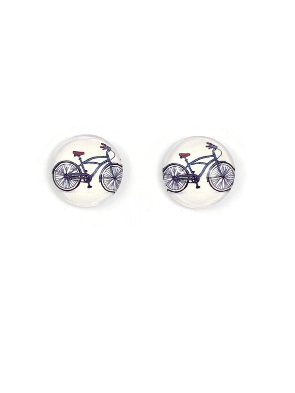 Grey Vintage Bicycles Stud Earrings
