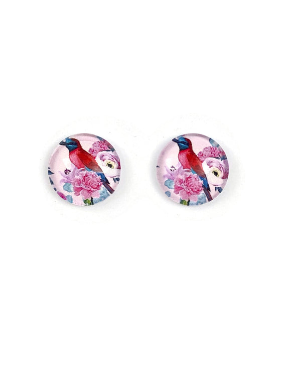 Fancy Bird on Flowers Stud Earrings