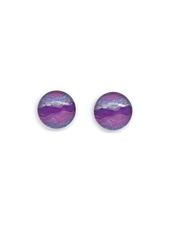 Purple Waves Stud Earrings