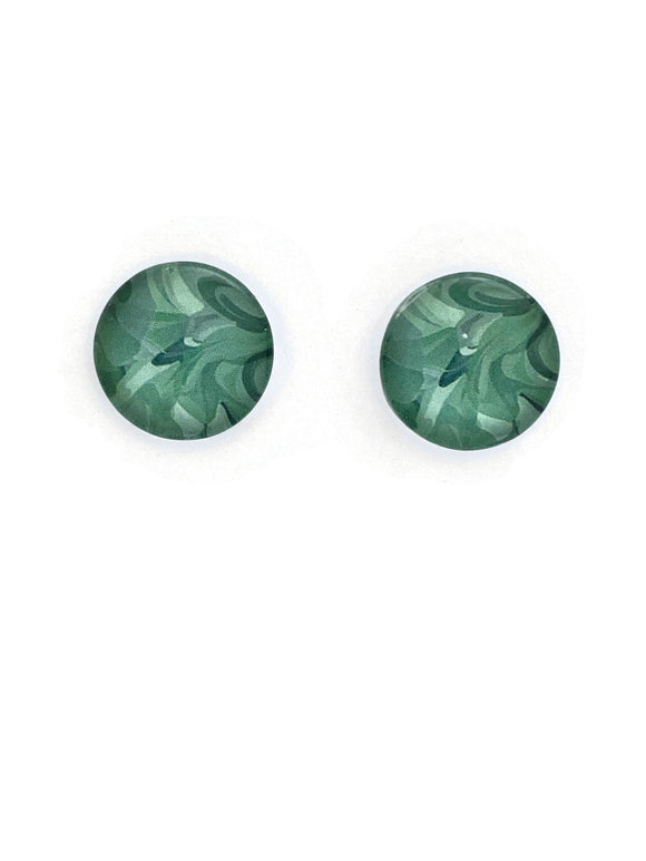 Green Waves Stud Earrings