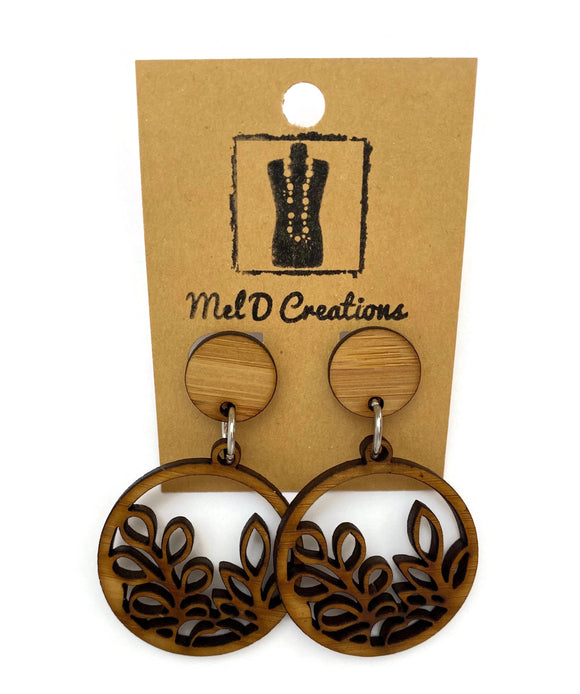 Bamboo Circled Leaves Dangle Earrings