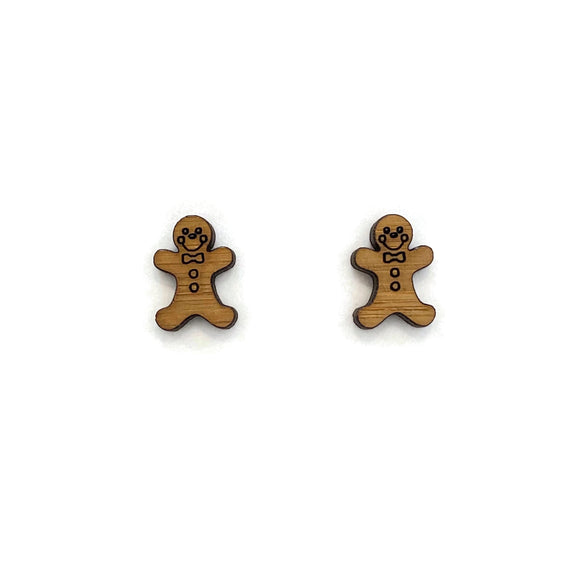 Bamboo Gingerbread Man Stud Earrings