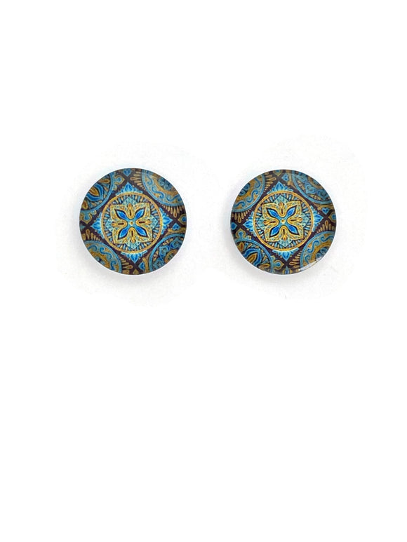 Turquoise Pattern Stud Earrings