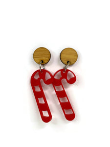 Red Candy Cane Dangle Earrings