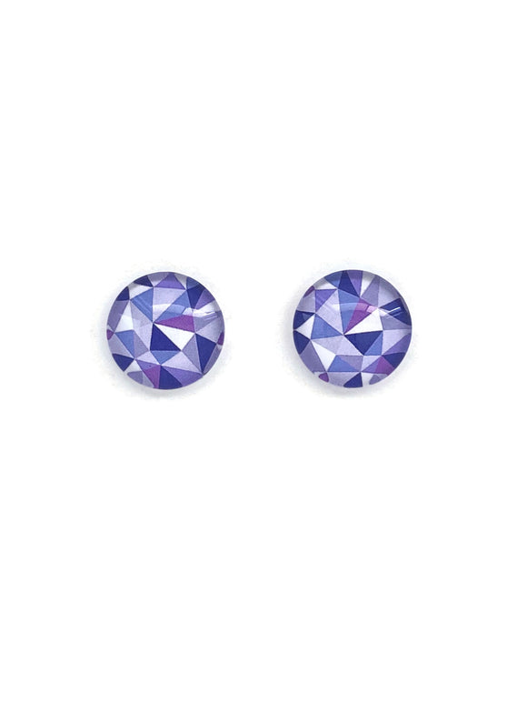 Purple Triangle Patterned Stud Earrings