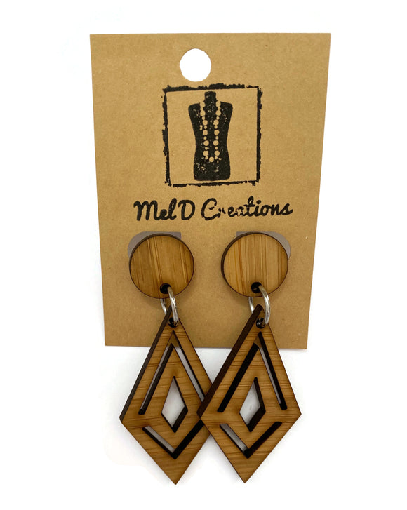 Bamboo Diamond Dangle Earrings
