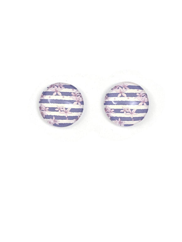 Grey Striped Floral Stud Earrings