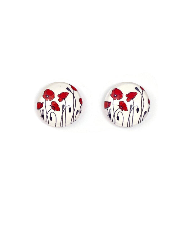 Red Poppies Stud Earrings