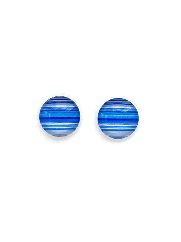 Striped Blues Stud Earrings