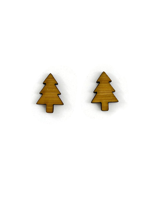 Bamboo Christmas Tree Stud Earrings