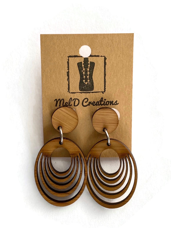 Bamboo Oval Hoops Dangle Earrings