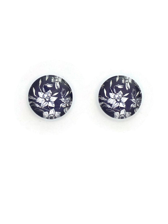 Black & White Flowers Studs Earrings