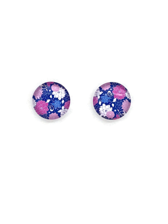 Pink and Purple Flowers Stud Earrings