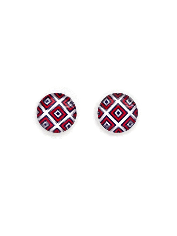 Red, Black and White Stud Earrings