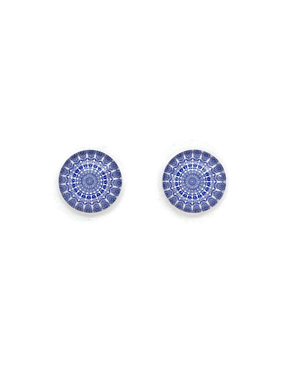 Blue Mandalas Stud Earrings