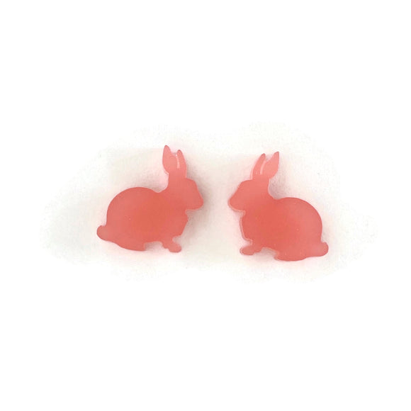 Frosted Pink Perspex Bunny Stud Earrings