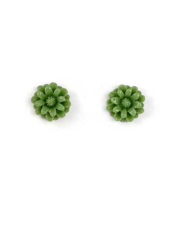 Green Resin Flower Stud Earrings