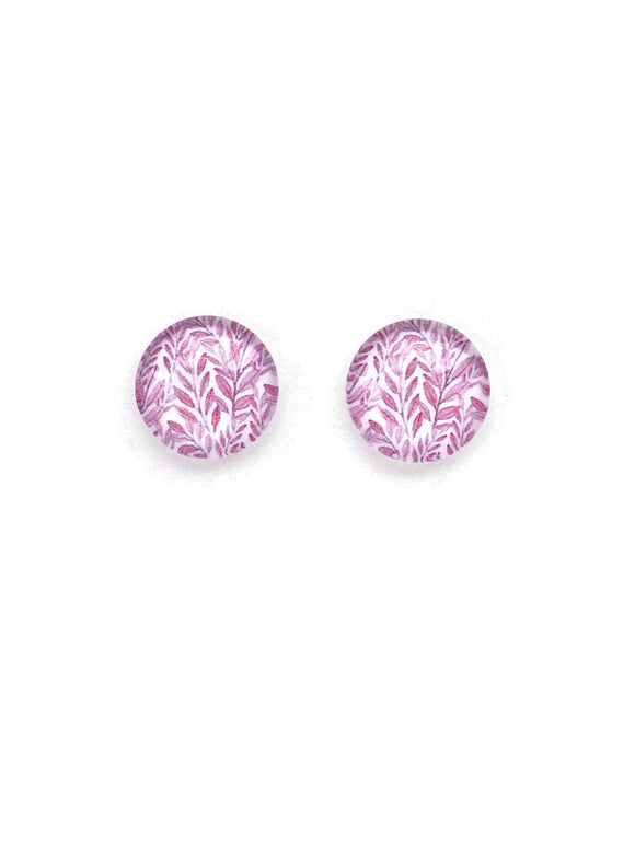 Pink Leaves Stud Earrings