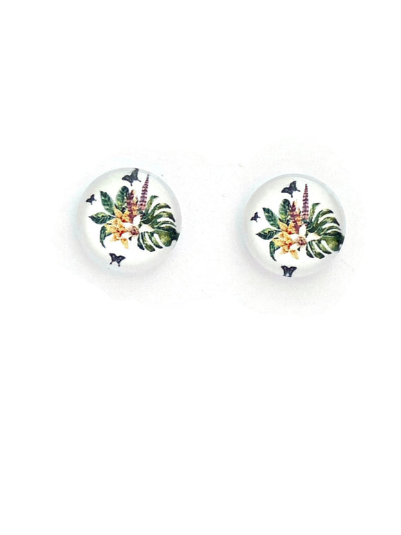 Monstera and Flowers Studs Earrings