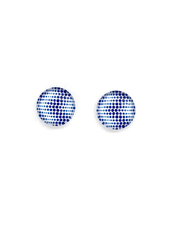 Blue Dot Abstract Stud Earrings