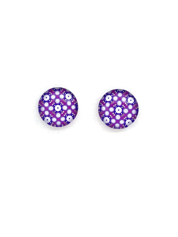 Purple Patterned Stud Earrings